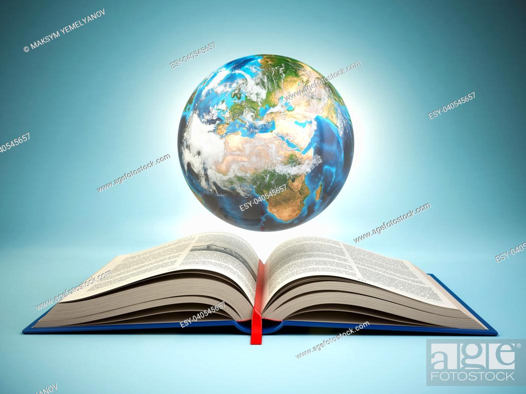 Imagen: Opened book and Earth on blue background, Education concept. 3d illustration.