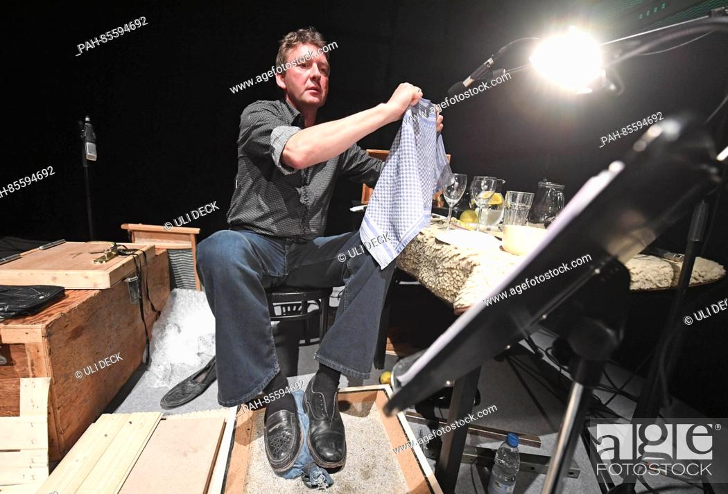 Foley artist Peter Sandmann during a rehearsal in the Art and Media