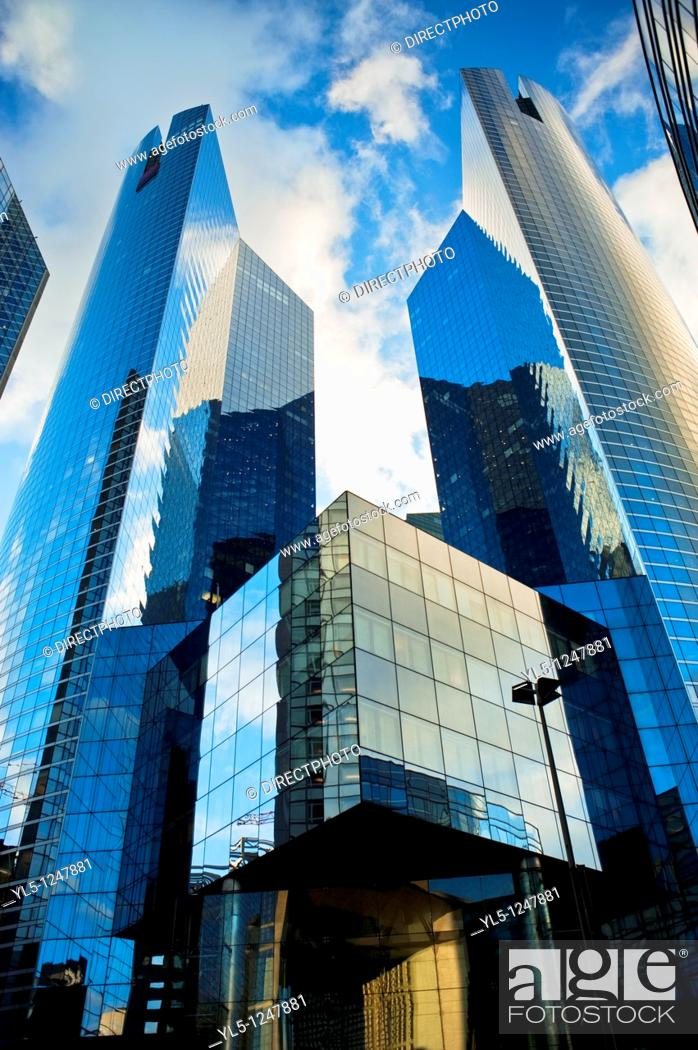 Stock Photo: Paris, France- Commercial Architecture, Corporate Headquarters Buildings, French Companies, La Défense Commercial Center.