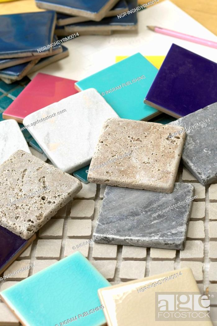 Stock Photo: Close-up of assorted swatches of tiles.