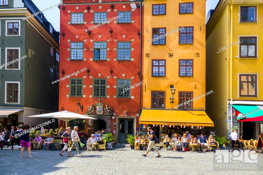Stock Photo: Stortorget square Gamla Stan Old Town tourist destination in Stockholm is the capital and largest city of Sweden.