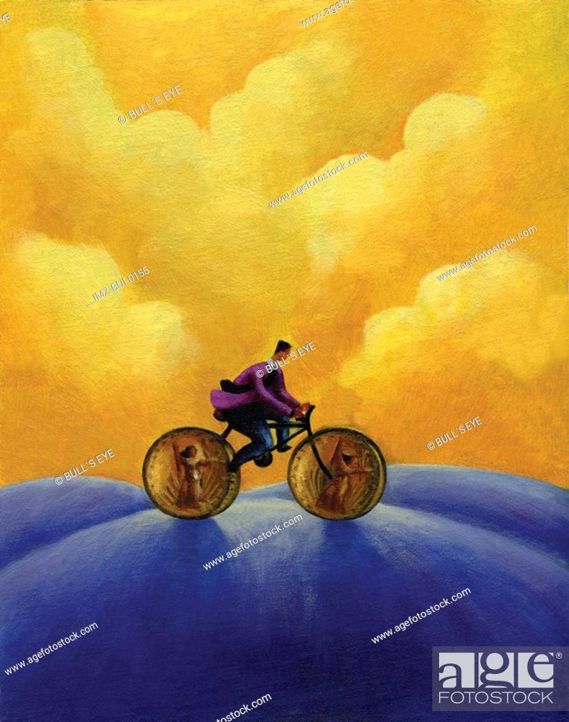 Imagen: Side view of a man riding bicycle with coins as wheels.