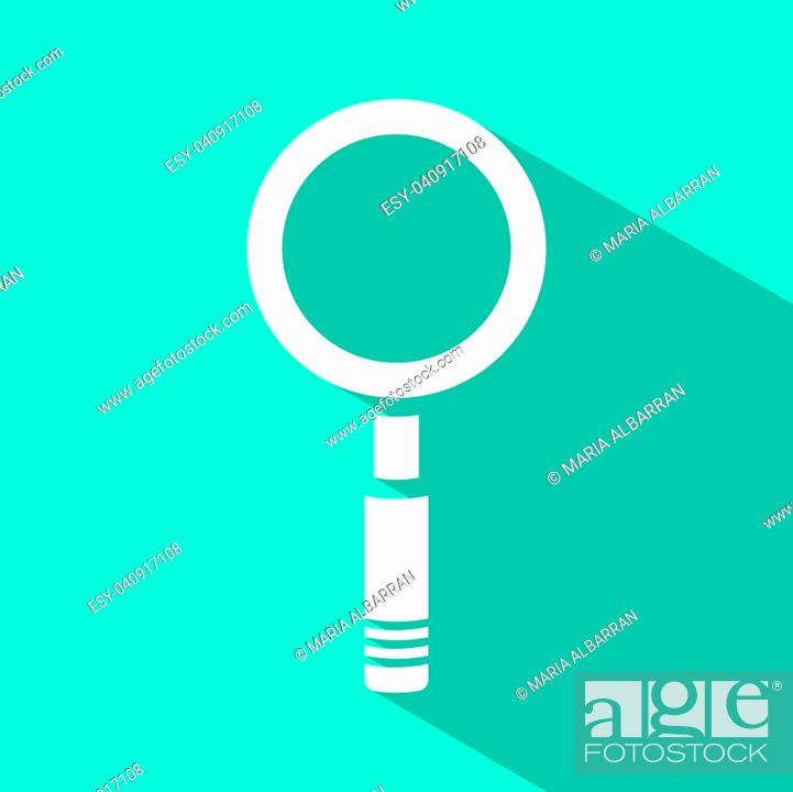 Vector: Magnifying glass icon on green background. Vector illustration.
