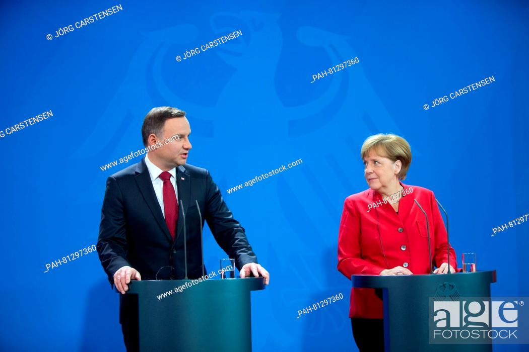 Stock Photo: German chancellor Angela Merkel (CDU) and Polish president Andrzej Duda speak at a press conference on the occasion of the 25th anniversary of the German-Polish.