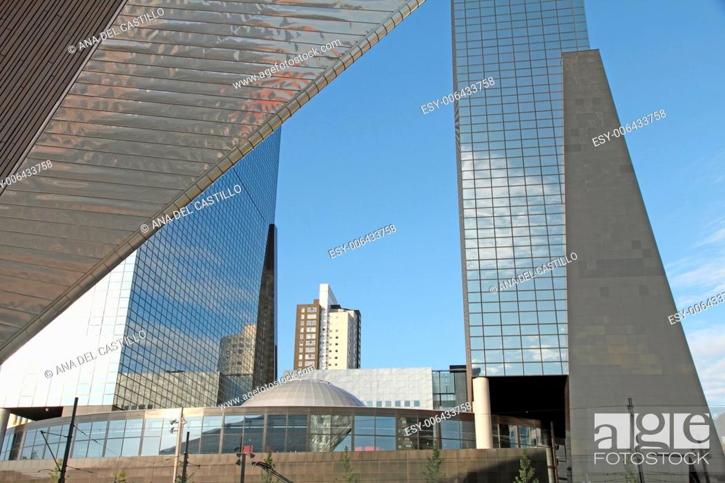 Stock Photo: ROTTERDAM, NETHERLANDS - JUNE 8: This city is the architectural capital of the Netherlands on June 8, 2014 in Rotterdam. Very spectacular new building projects.