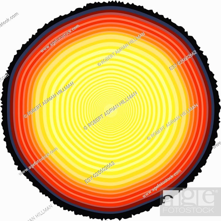 Stock Vector: Editable vector illustration of tree rings on a 67-year-old tree stump.