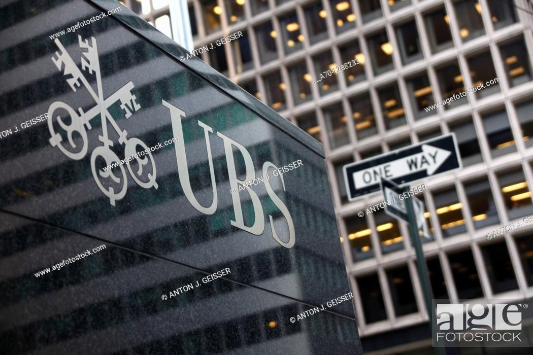 Stock Photo: New York City, UBS Bank park avenue.