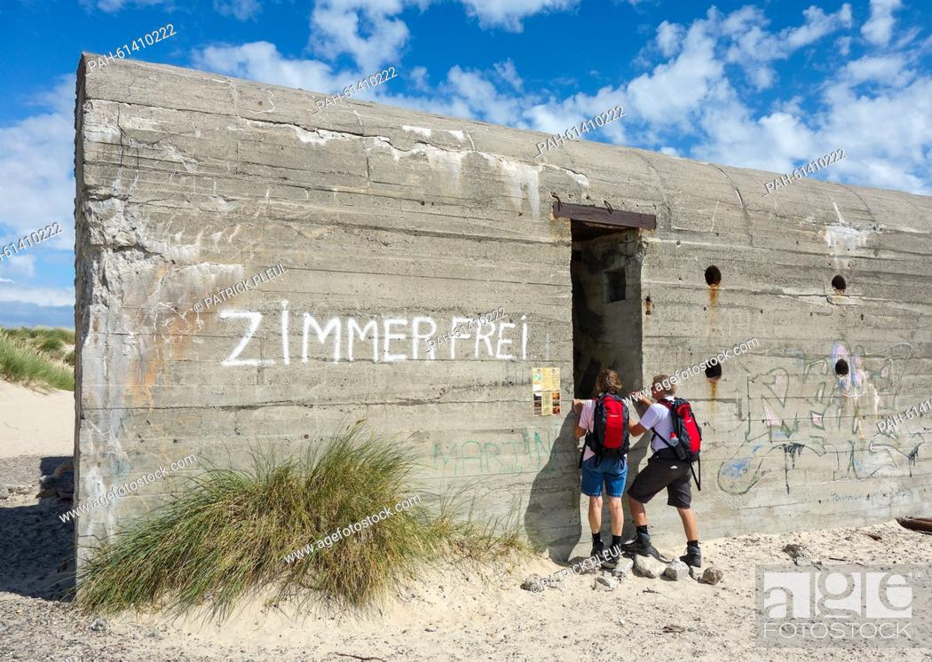 Stock Photo: An old German World War Two shelter which says 'Zimmer frei', not far from the northernmost point where North and East Sea encounter in Grenen, Denmark.