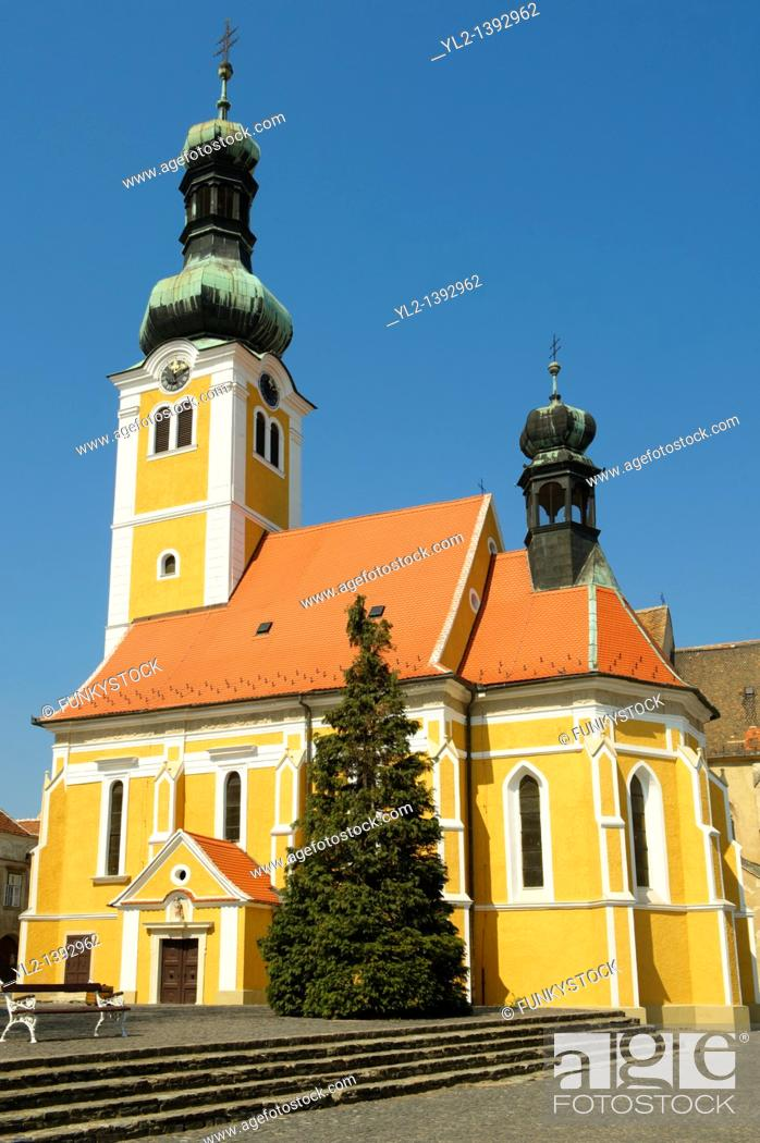 Stock Photo: Old Town Square with St Stephan's Istvan church, Koszeg Hungary.