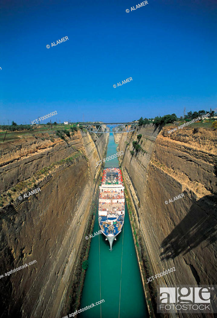 Stock Photo: Peloponnese, canal of Corinth.