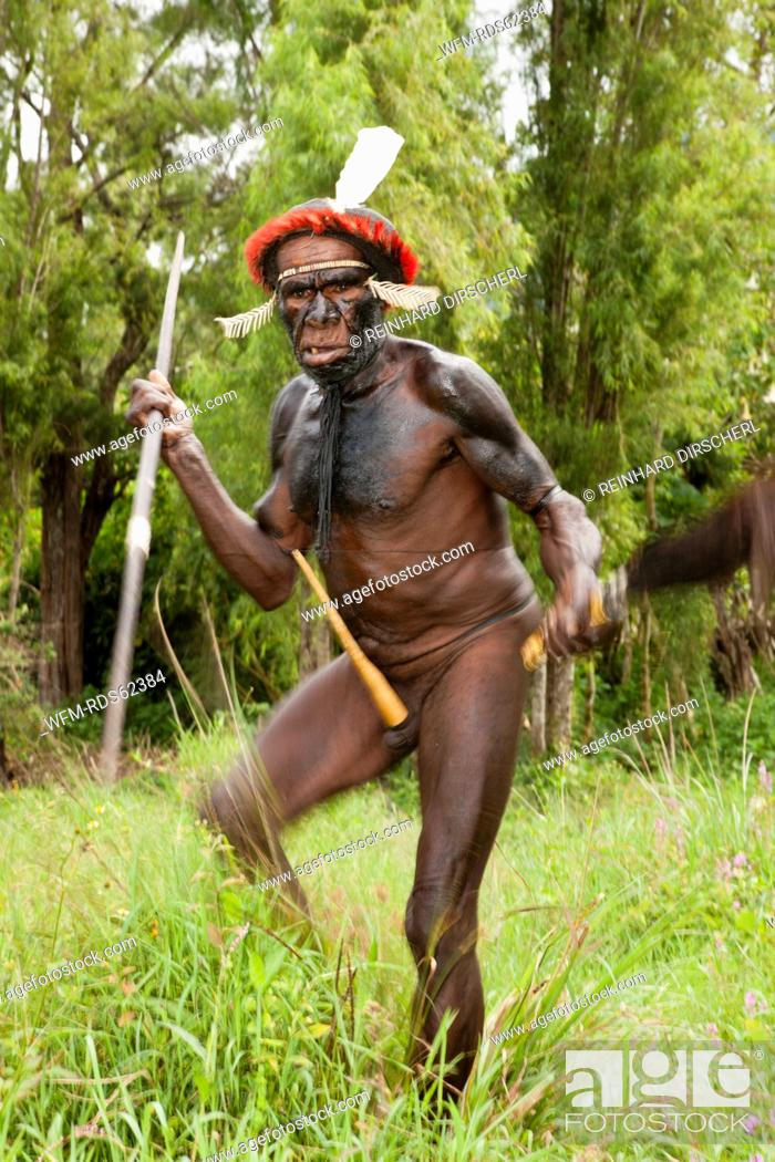 Stock Photo: Warrior of Dani Tribe, Baliem Valley, West Papua, Indonesia.