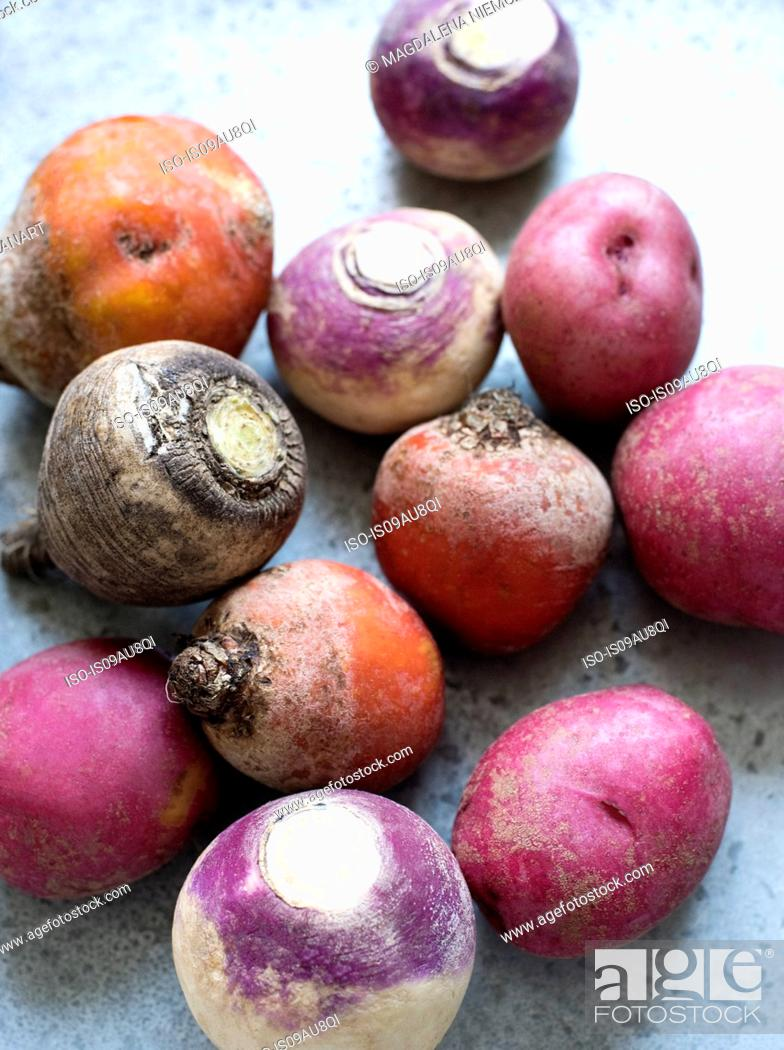 Stock Photo: Overhead view of Autumn root vegetables.