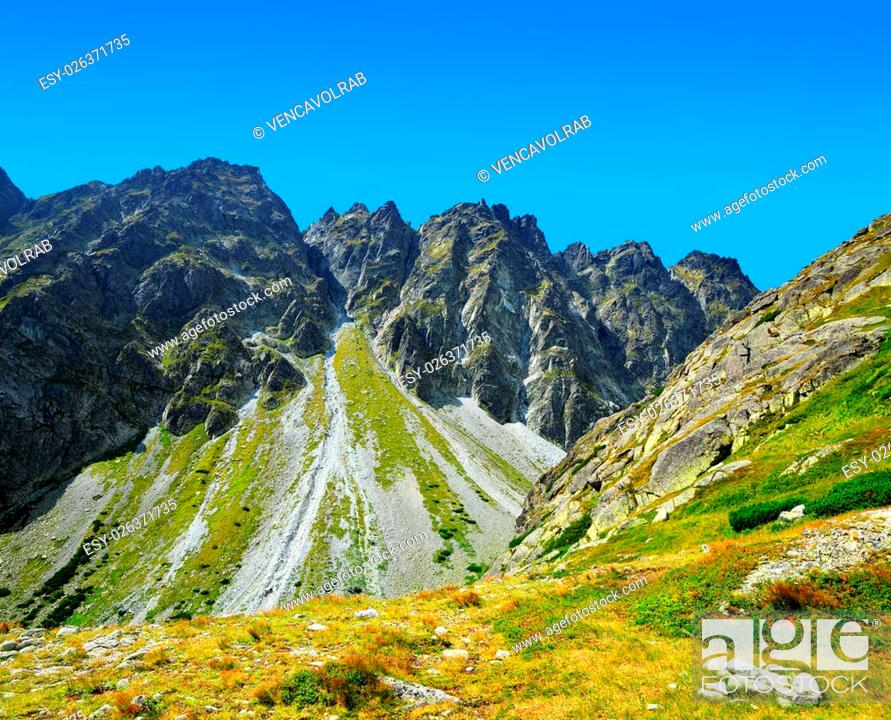 Stock Photo: Mountain Satan. Mengusovska Valley in Vysoke Tatry (High Tatras), Slovakia.