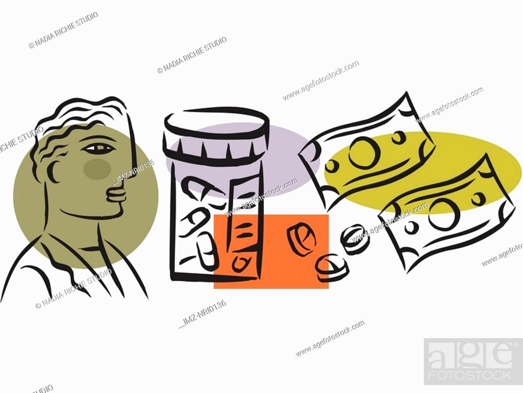 Stock Photo: A picture showing a prescription drug costs.