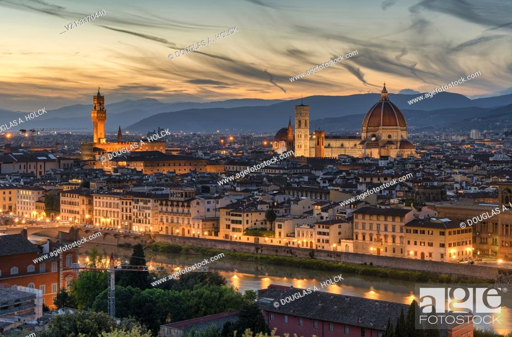 Stock Photo: Night Colors on Florence Duomo and the Tower of Arnolfo Florence Tuscany Italy World Location.