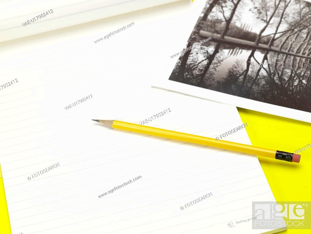 Stock Photo: school stationery, artifact, stationery, business supplies, photograph, writing instrument, notebook.