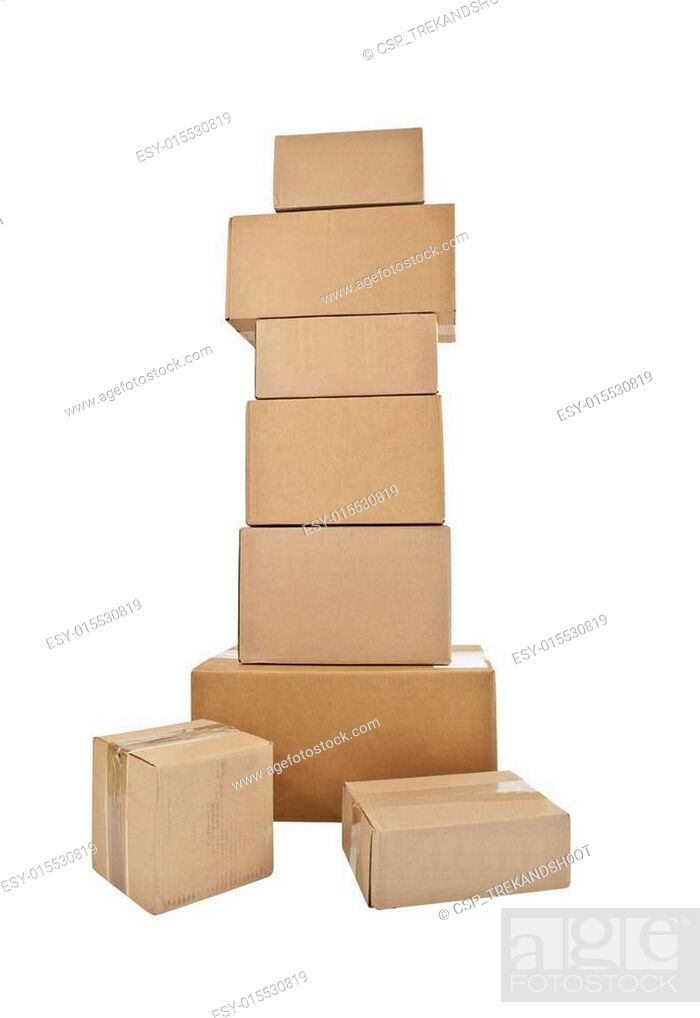 Stock Photo: Tall Stack of Boxes.