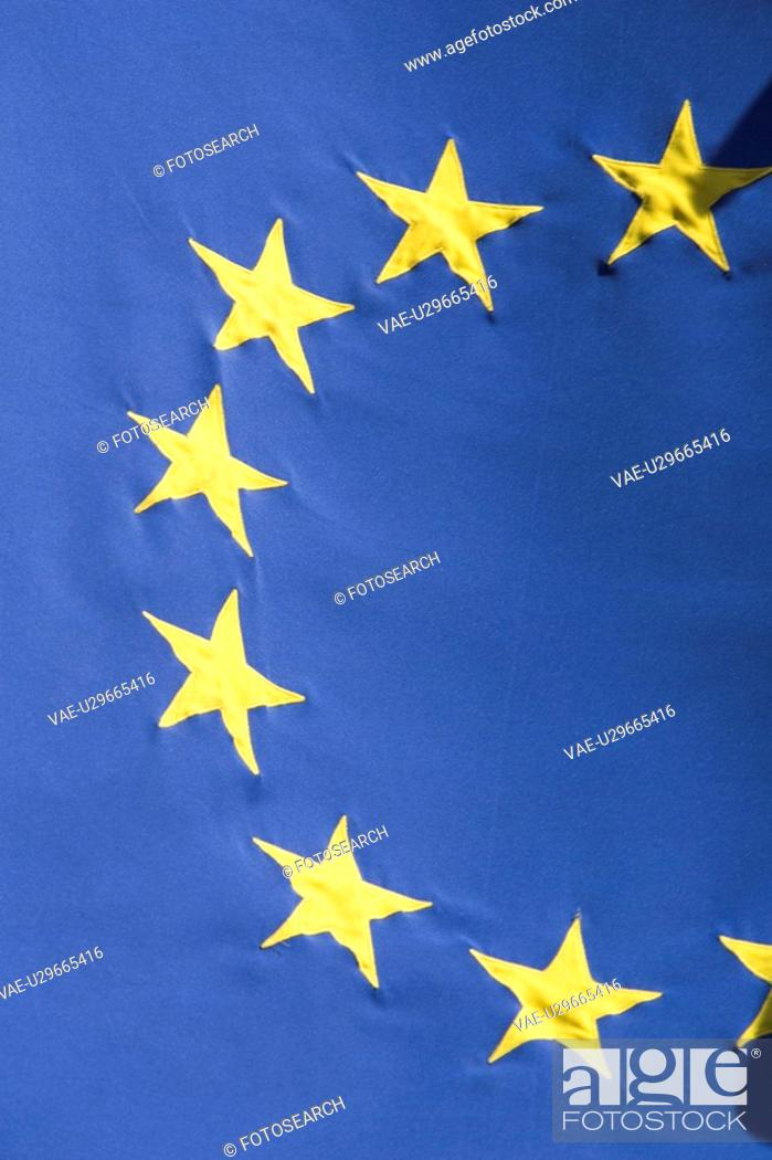 Stock Photo: Blue, Close-Up, Day, European Union Flag, Extreme Close-Up.
