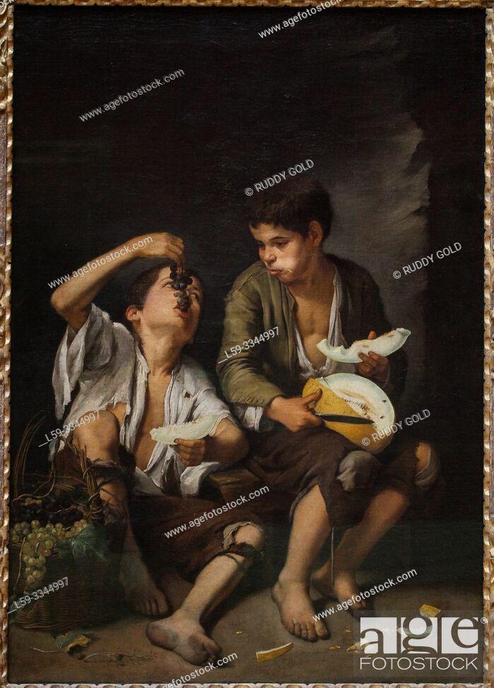 Stock Photo: 'Grape and Melon Eaters', 1645, by Bartolomé Esteban Murillo (1617-1682).