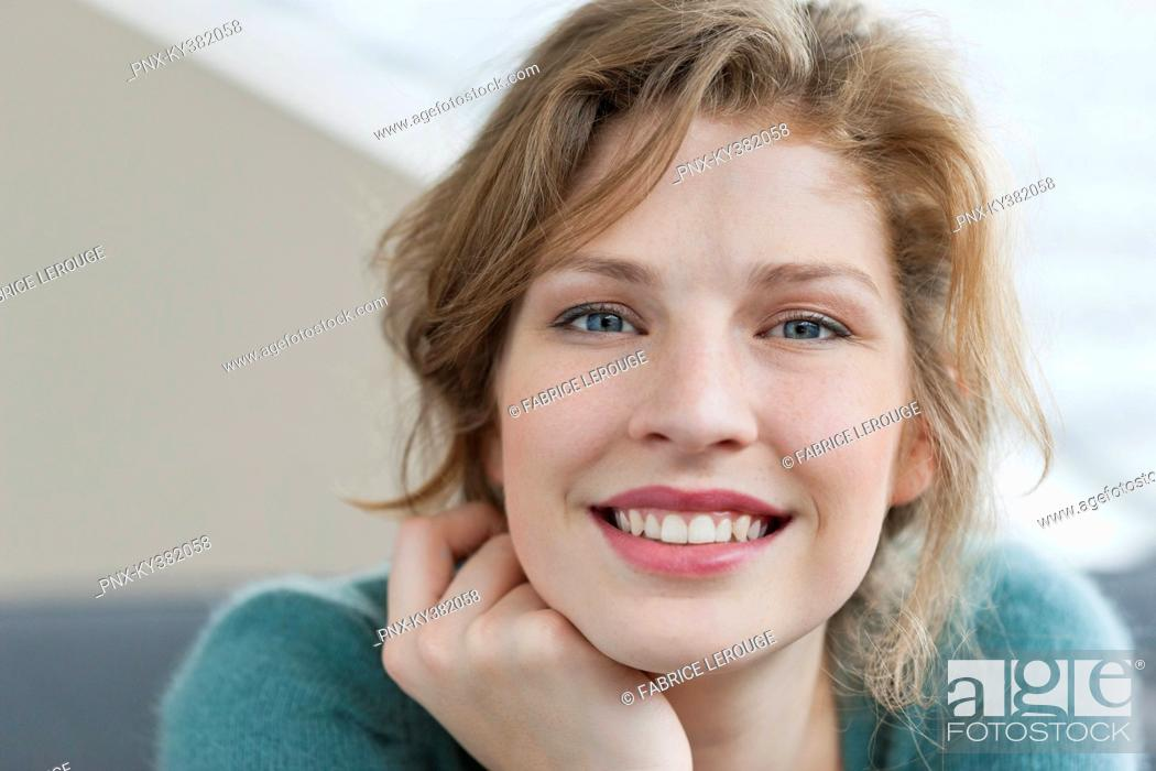 Stock Photo: Woman looking happy.