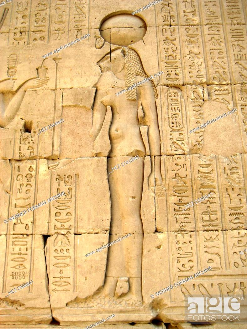 Reliefs Of The Lion Goddess Sekhmet Holding The Ankh Symbol Of Life