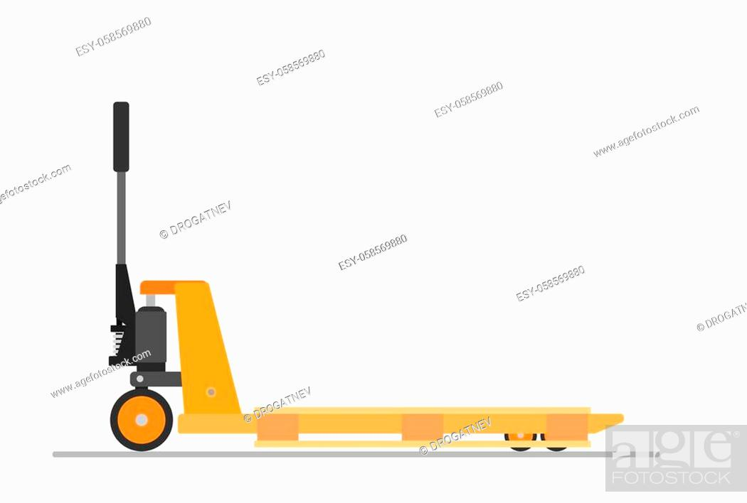 Stock Vector: Hand pallet jack lift and wooden pallet isolated on white. cargo cart or forklift. Delivery, logistic and shipping cargo.