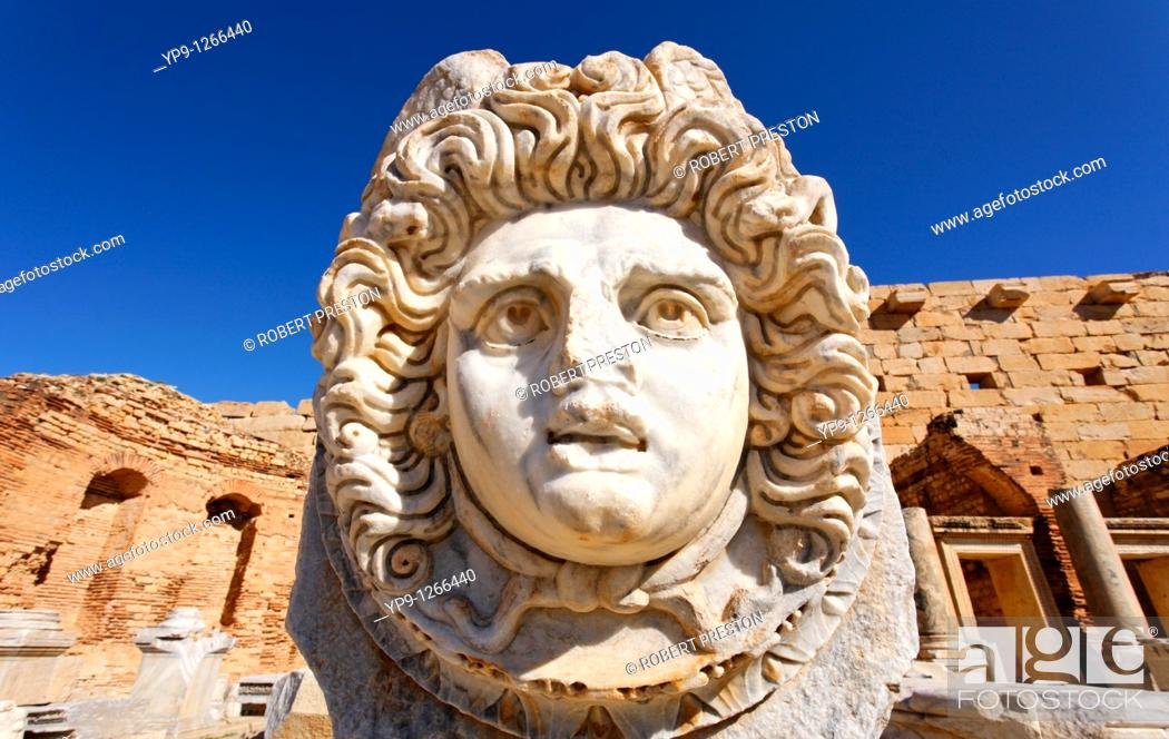Stock Photo: Sculpted Medusa head at the Forum of Severus, Leptis Magna, Libya.