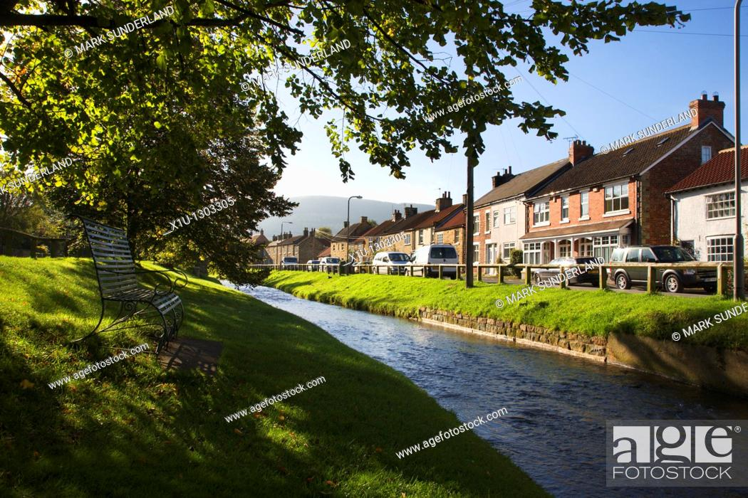 Stock Photo: Swainby and the River Leven North Yorkshire England.