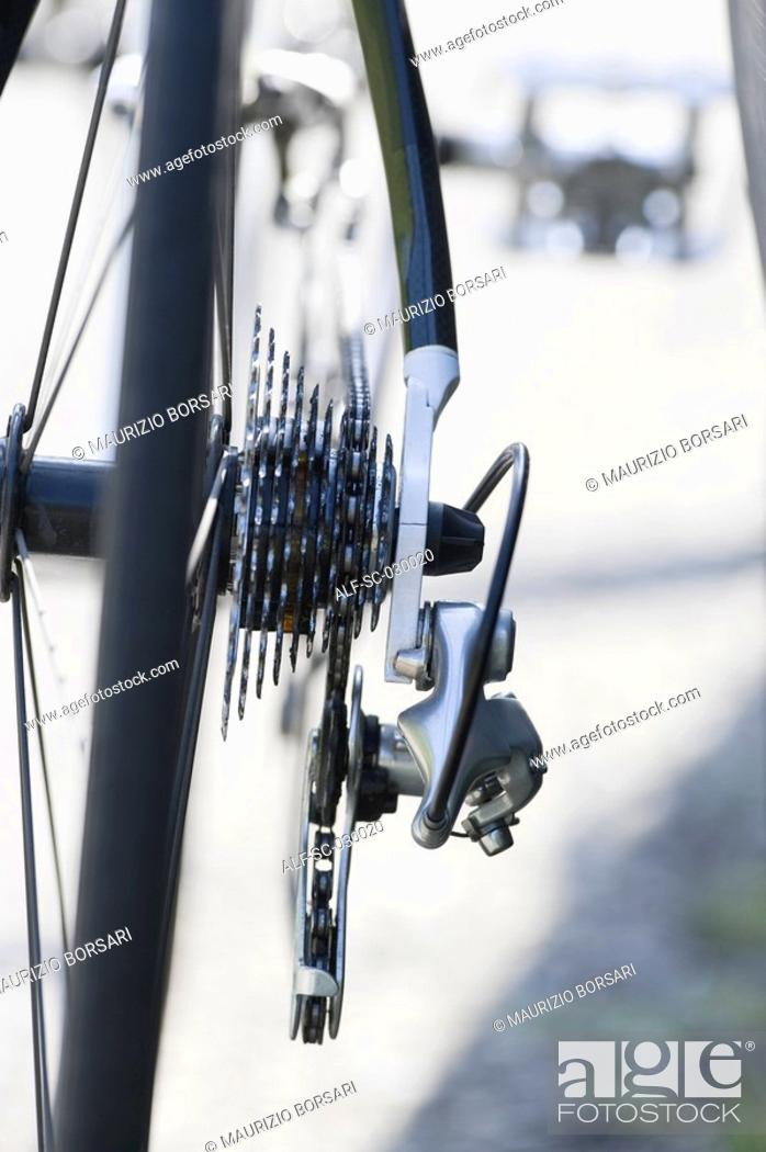 Stock Photo: Close up of bicycle gears.