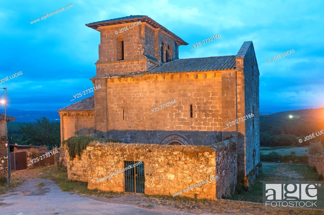 Stock Photo: Church of the romanesque monastery of San Miguel-12th century, Eire, Lugo province, Region of Galicia, Spain, Europe.