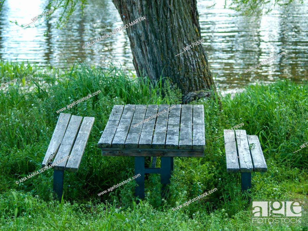 Stock Photo: Wooden tables and benches in a picnic area in a river shore between the grass.