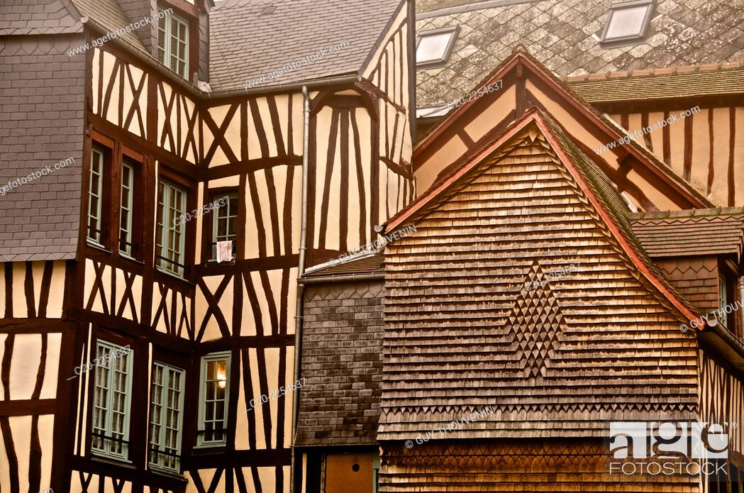 Stock Photo: Medieval houses, facade, half timbered, old town, Rouen , Normandy 76, france.