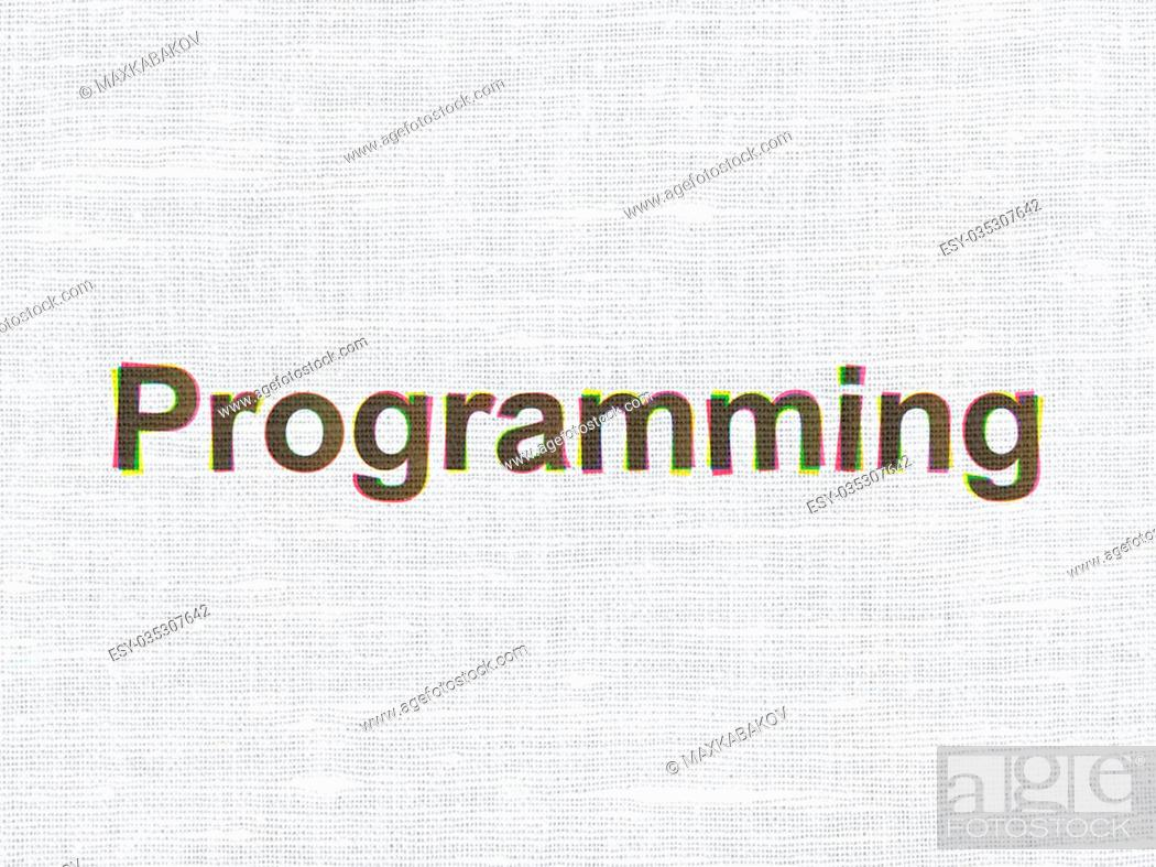 Stock Photo: Software concept: CMYK Programming on linen fabric texture background.