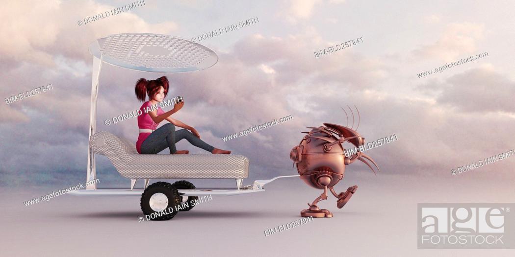 Stock Photo: Robot pulling girl in luxury futuristic rickshaw.