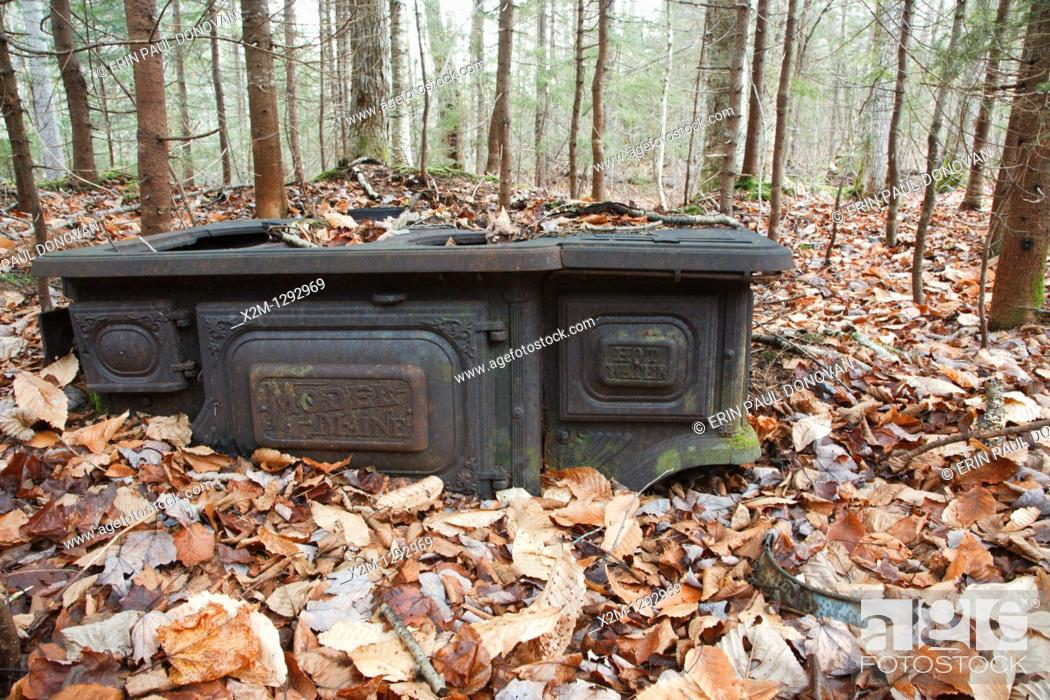 Stock Photo: Logging camp artifact from the Swift River Railroad (1906-1916) in the Sabbaday Brook drainage of the White Mountains, New Hampshire USA.