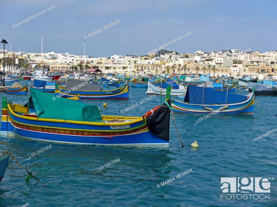 Stock Photo: Marsaxlokk, fishing village, Island Malta, Mediterranean Sea.