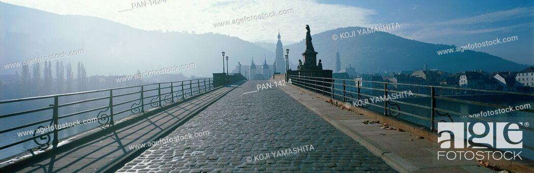 Stock Photo: Bridge over the Neckar River, Heidelberg, Germany.