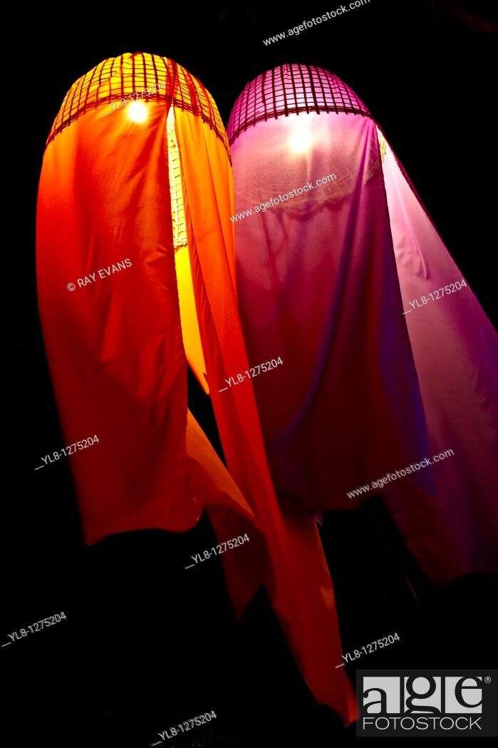 Stock Photo: Fabric fire sky lanterns Thailand.