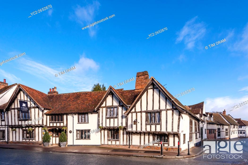 Stock Photo: The famous Swan Hotel in the picturesque village of Lavenham , Suffolk , England , Britain , Uk.
