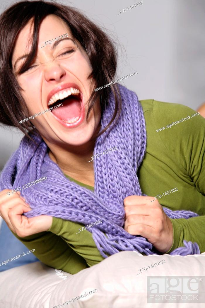 Stock Photo: Woman laughing.
