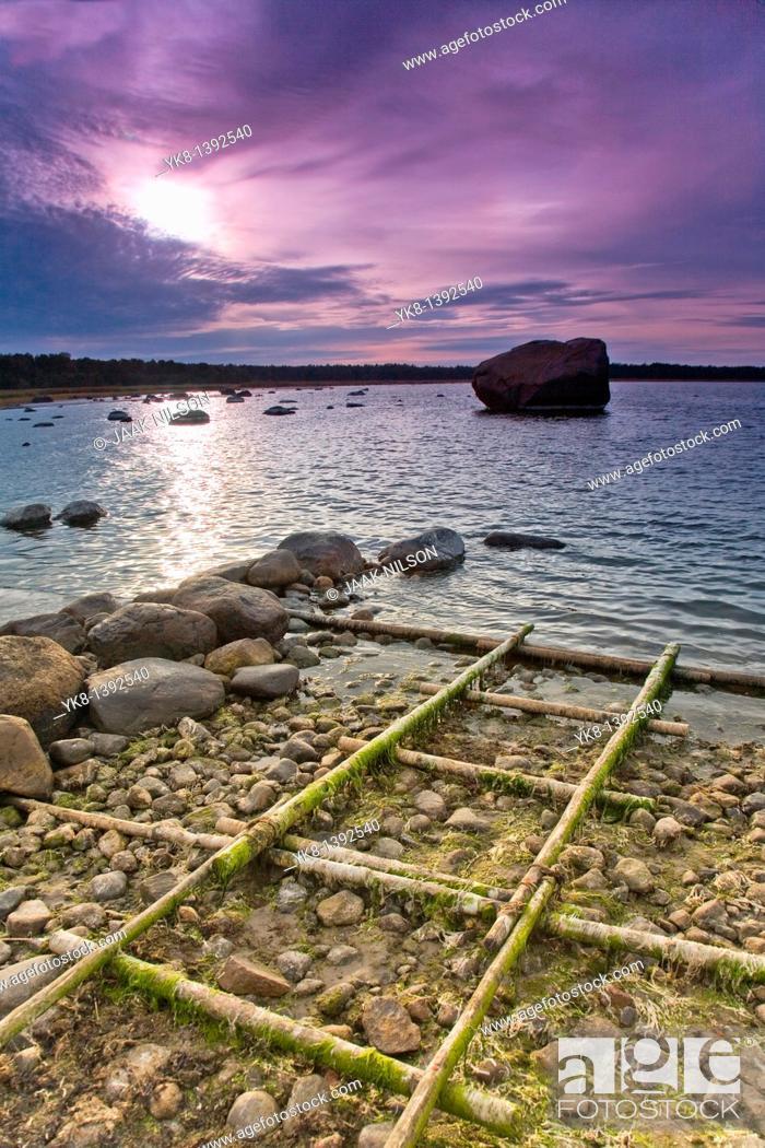 Stock Photo: Old Boat Rails in Altja Fishing Village, Overcast Seascape in Lääne-Viru County, Lahemaa National Park, Estonia.