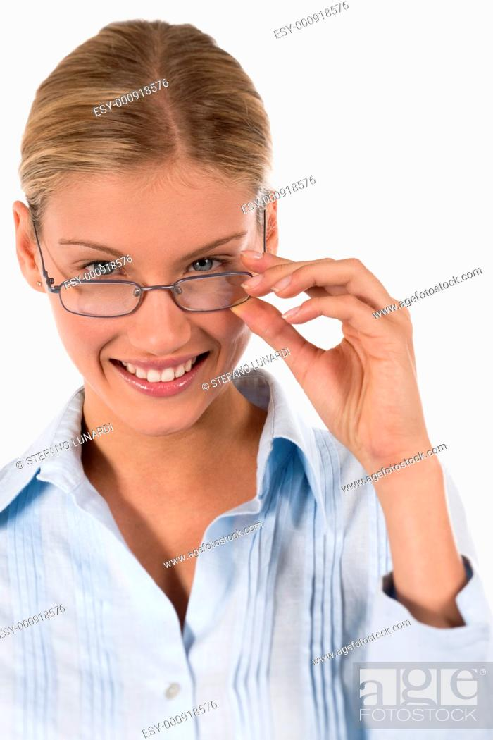 Stock Photo: Attractive young businesswoman or student with glasses, isolated on white.