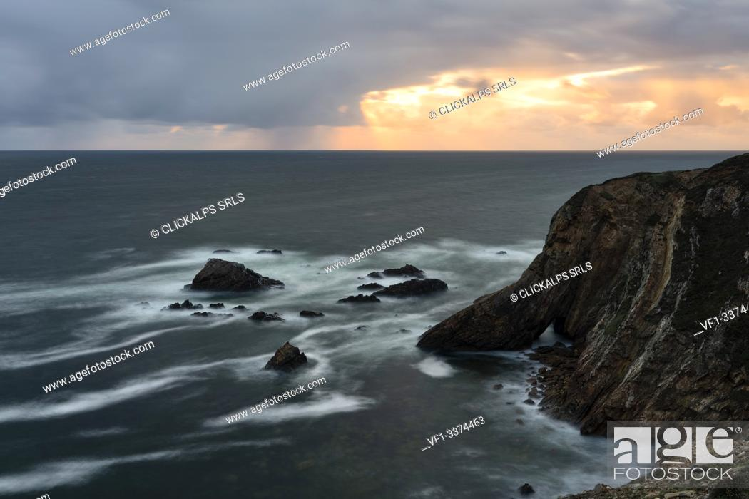 Stock Photo: summer sunset at Crohy Head, country Donegal, Ulster province, north west Ireland, Ireland, Europe.