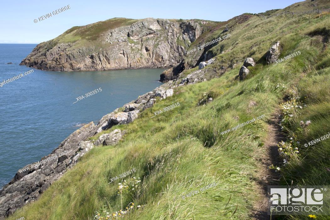 Stock Photo: Cliffs and Footpath at Llanbadrig; Cemaes; Anglesey; Wales; UK.