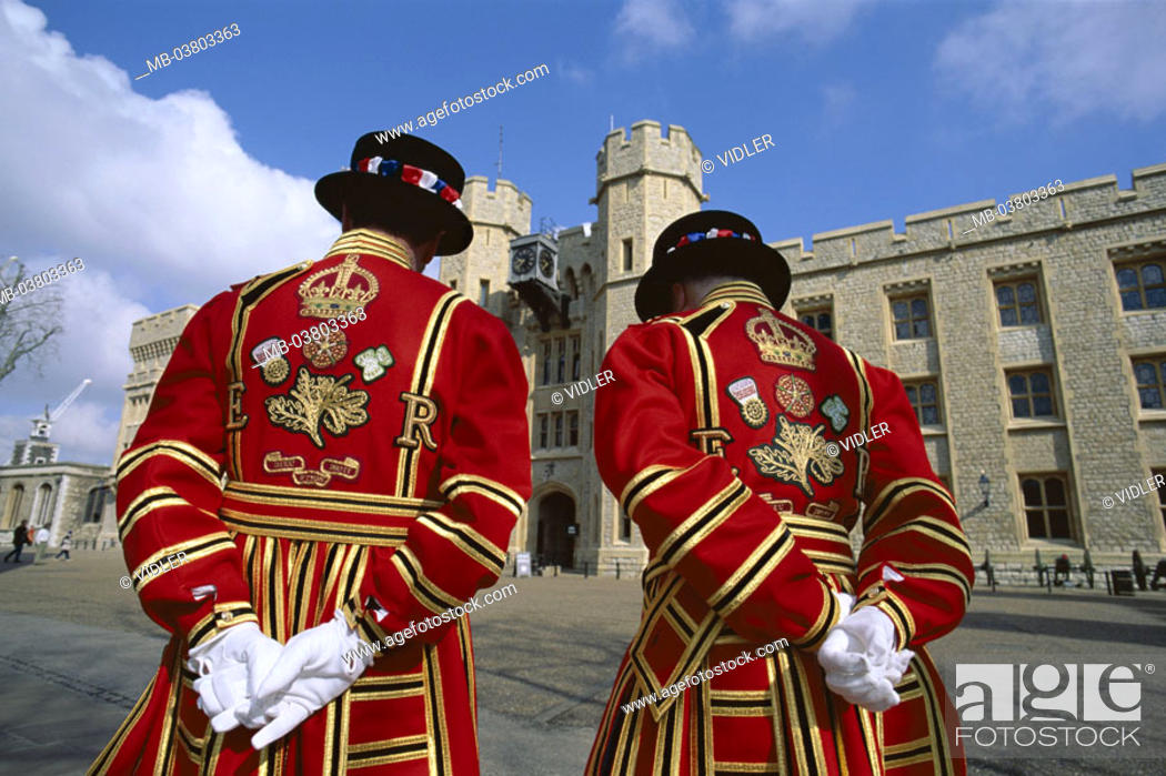 Stock Photo: Great Britain, England, London,  Tower, Beefeaters, view from behind   Europe, island, city, capital, buildings, men, station, watches, two, outfits, uniforms.