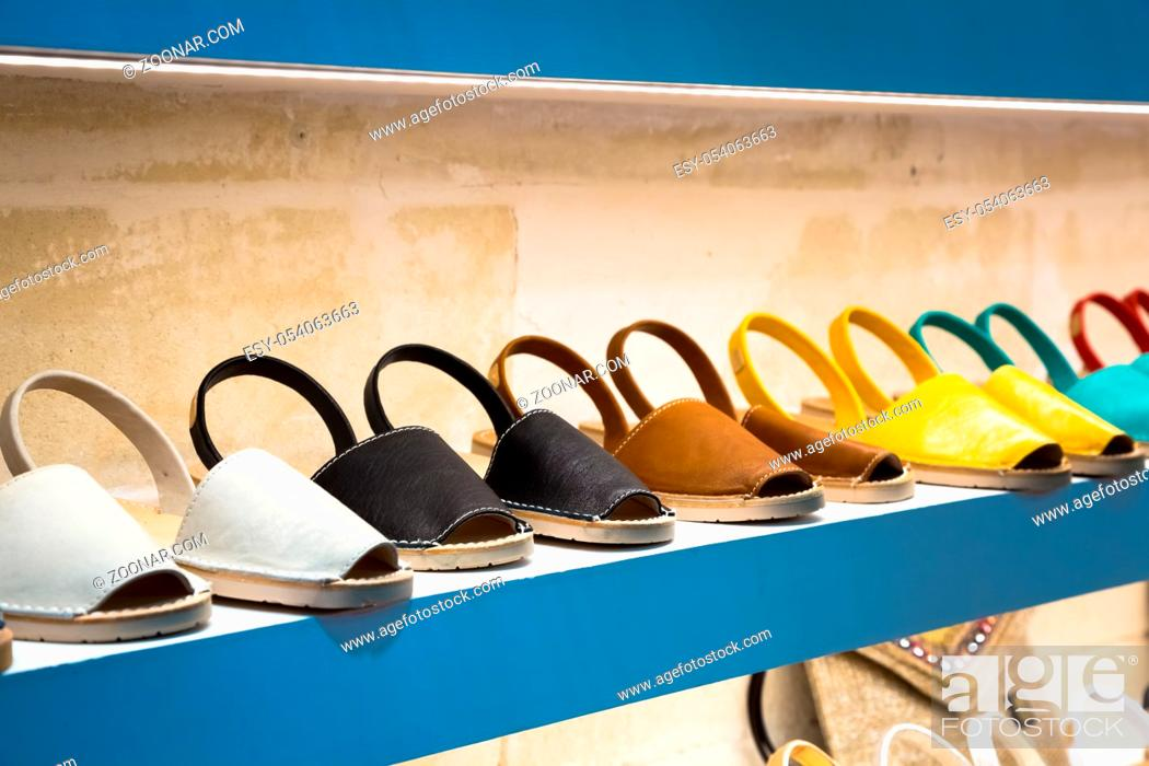 Stock Photo: Traditional Menorca sandals - named Avarca - in exposition.