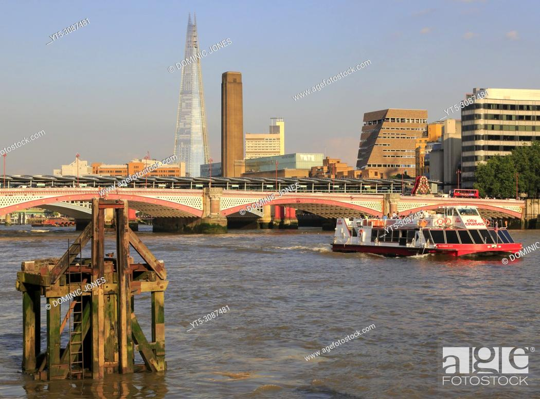 Stock Photo: Blackfriars Bridge crossing the Thames with the Tate Modern and The Shard completing the scene. London , England, Europe.