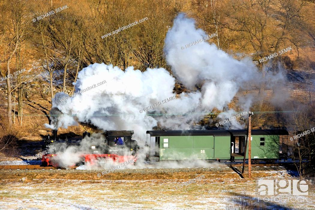 Stock Photo: steam train, Steinbach - Jöhstadt, Germany.