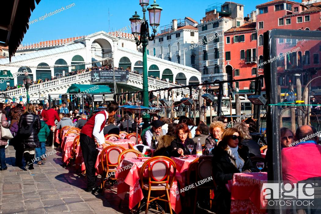 Stock Photo: Cafe by the Grand Canal and Rialto Bridge in Venice, Veneto, Italy.