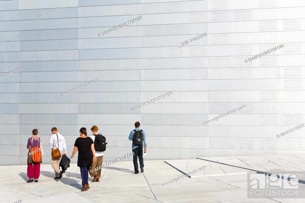 Stock Photo: Europe, Norway, Oslo, Oslo Opera House, Snohetta architect.